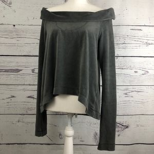 AIKO Velour Almost Off the Shoulder High Lo Top M